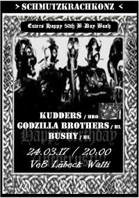 Kudders, Godzilla Brothers, Bushy im VeB Lübeck am 24.3.17