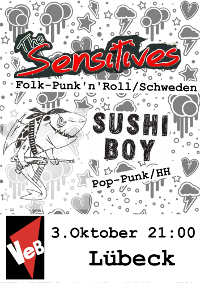 Punkrock mit The Sensitives + Sushi Boy im VeB / Lübeck am 03.10.2013