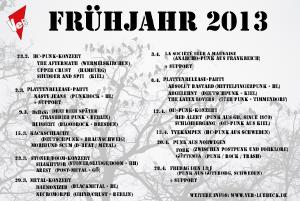 Konzert-Übersicht im VeB / Lübeck - Frühjahr 2013